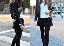 outfit per ragazza vestito nero maglione bianco e giacca di pelle 4AO3