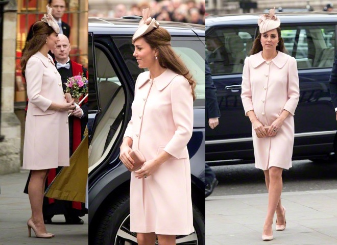Look rosa confetto Kate Middleton incinta