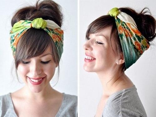 Come indossare un foulard in testa capelli corti