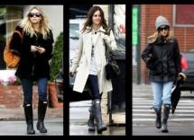 5 look chic con stivali da pioggia