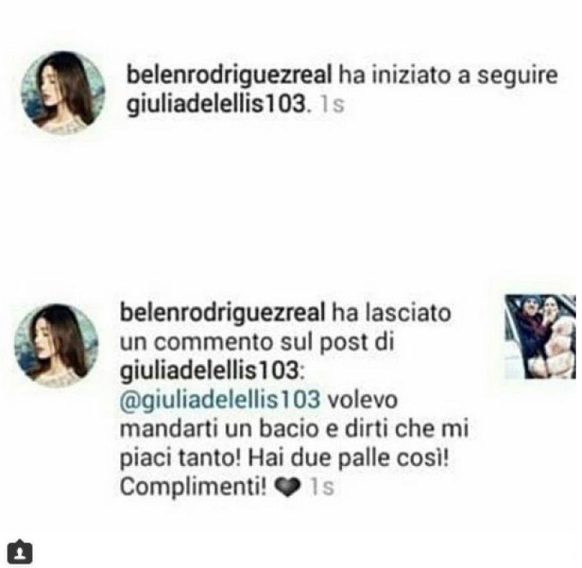 Belen scrive a Giulia