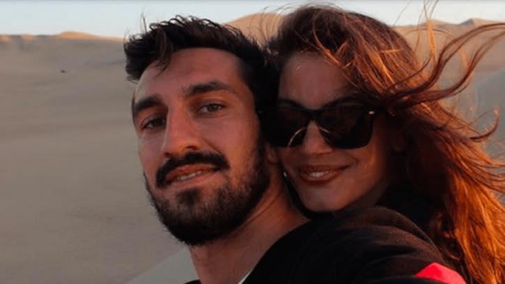 Davide Astori e Francesca Fioretti durante un viaggio.