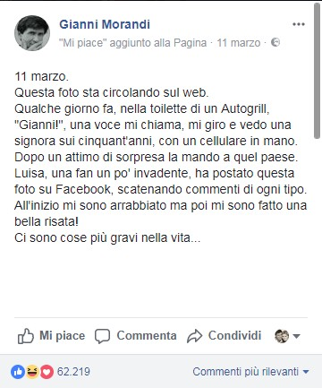 Il commento di Gianni Morandi