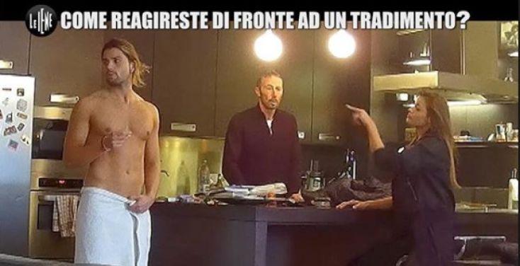 Le Iene, lato B di Luca Onestini in vista dopo uno scherzo