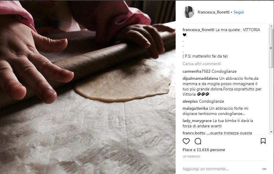 Il post di Francesca su sua figlia