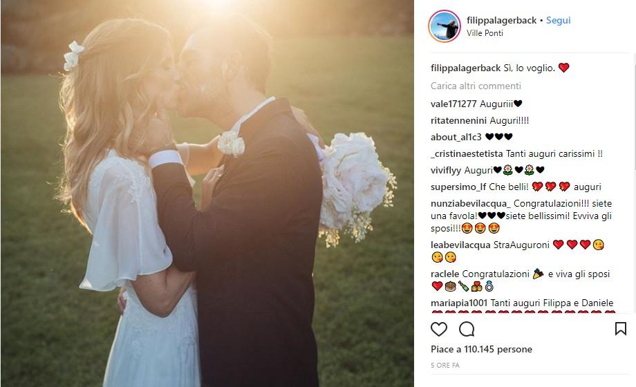 Filippa Lagerback, romantica foto dopo le nozze con Bossari