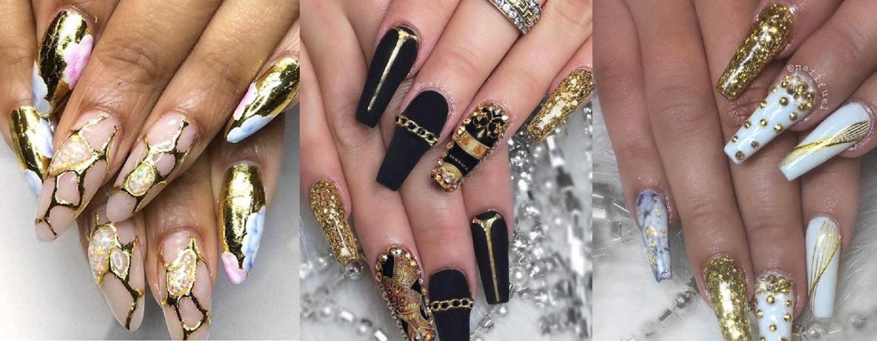 Artistic Gold Nail Art