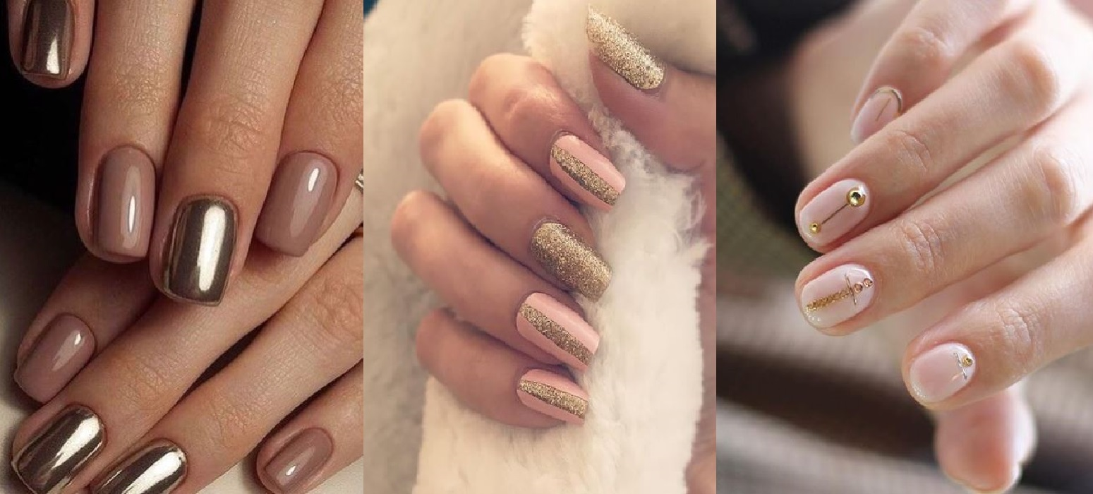 Nail art gold and nude