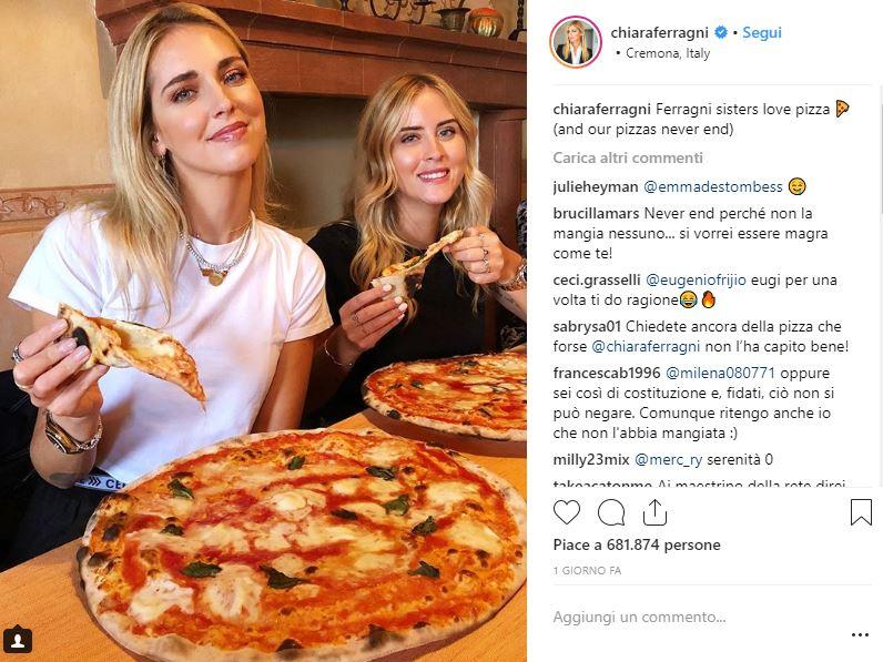 Chiara e Valentina Ferragni, bufera per la foto della pizza | Donne Magazine