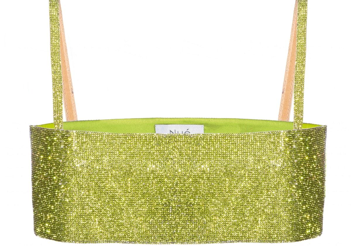 top glitterato nue colore verde