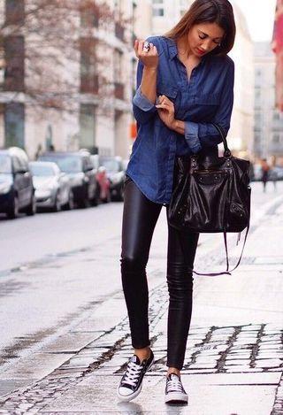 leggins camicia jeans