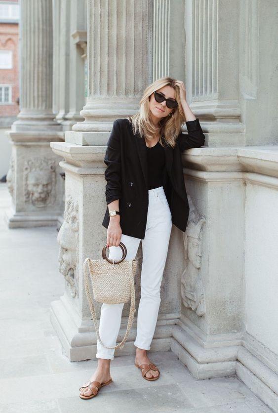 jeans bianco blazer nero
