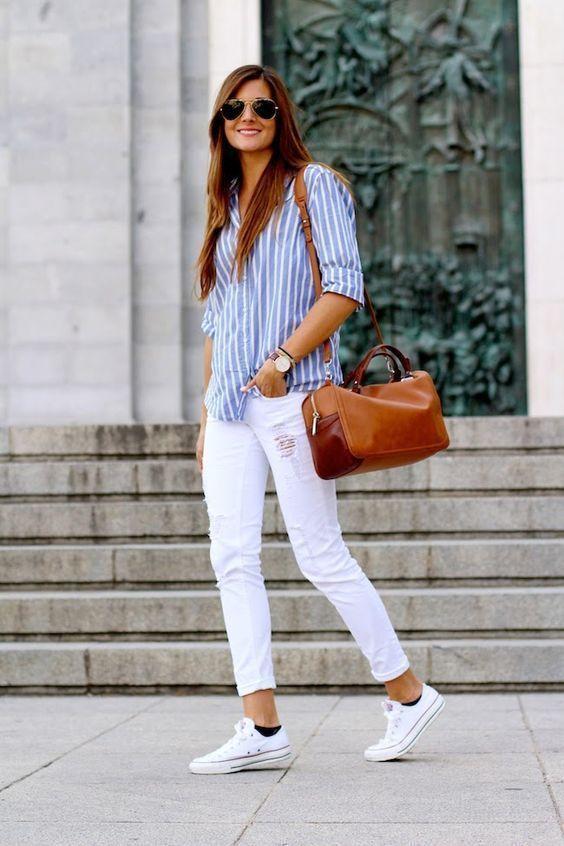 jeans bianco camicia