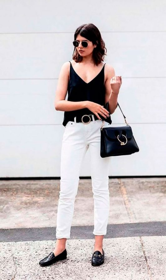 jeans bianco look maschile