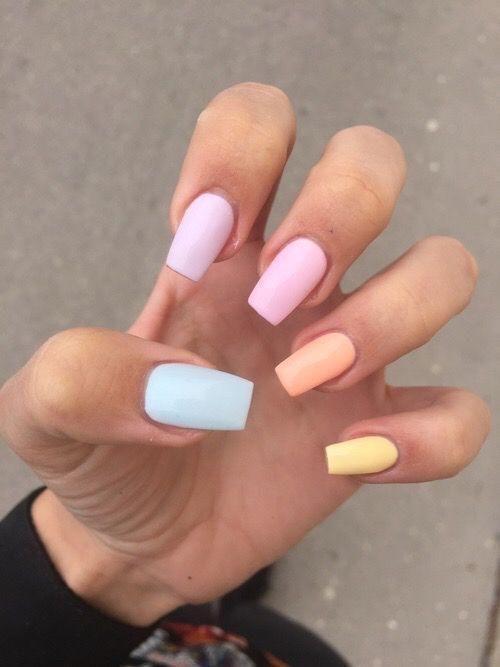 unghie estive semplici pastello
