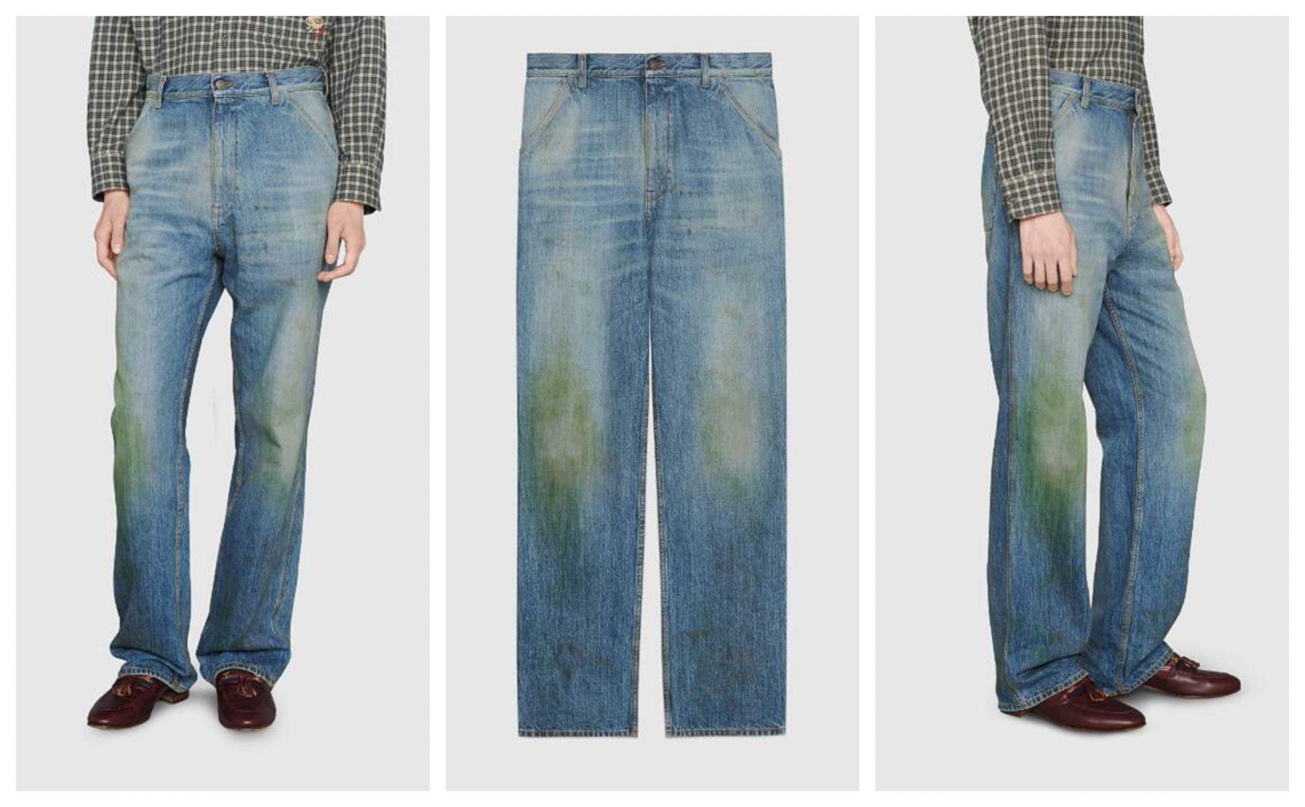 gucci jeans macchie di erba