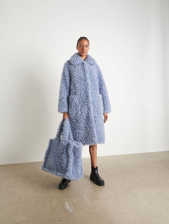 pelliccia ecologica celeste teddy