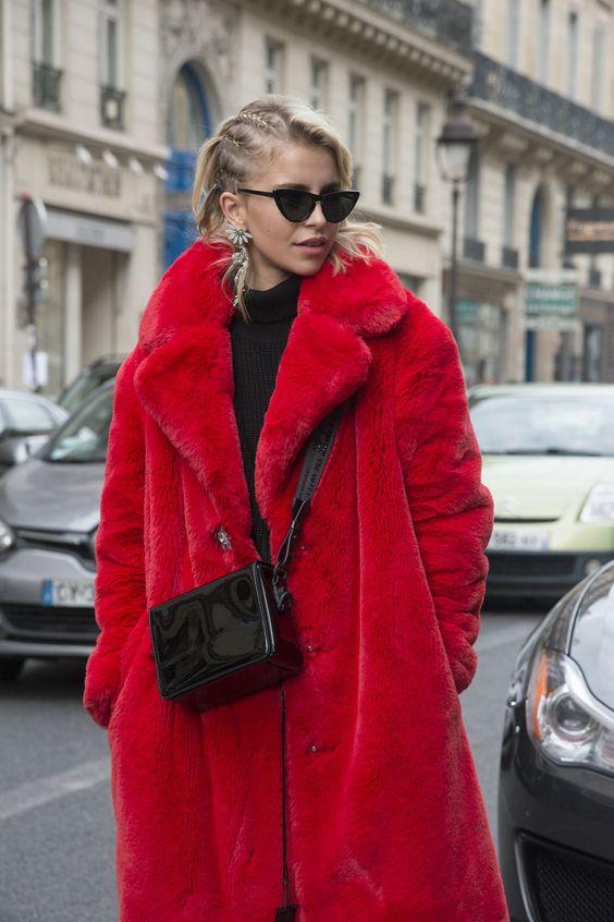 pelliccia ecologica rossa
