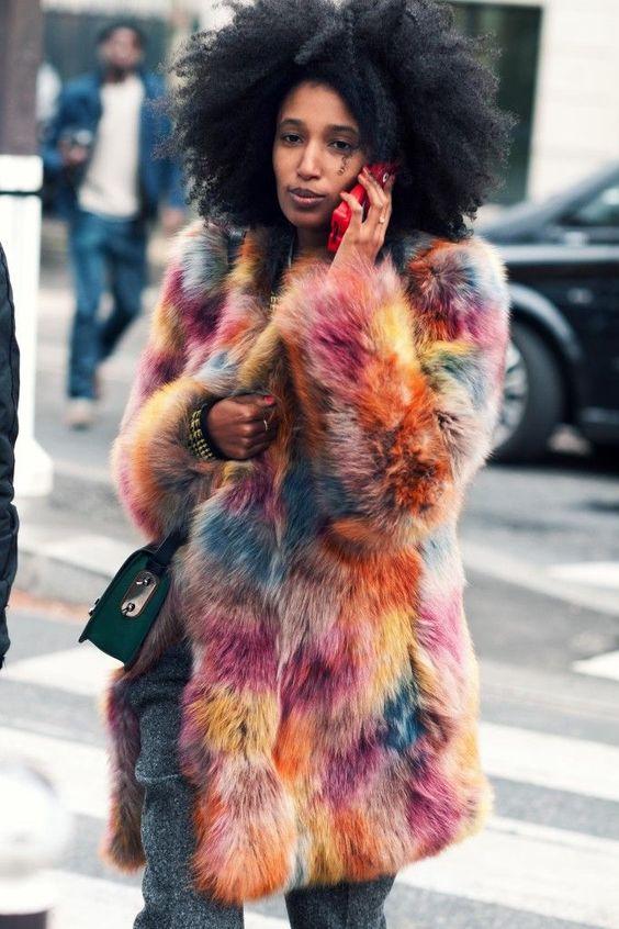pelliccia ecoogica colorata