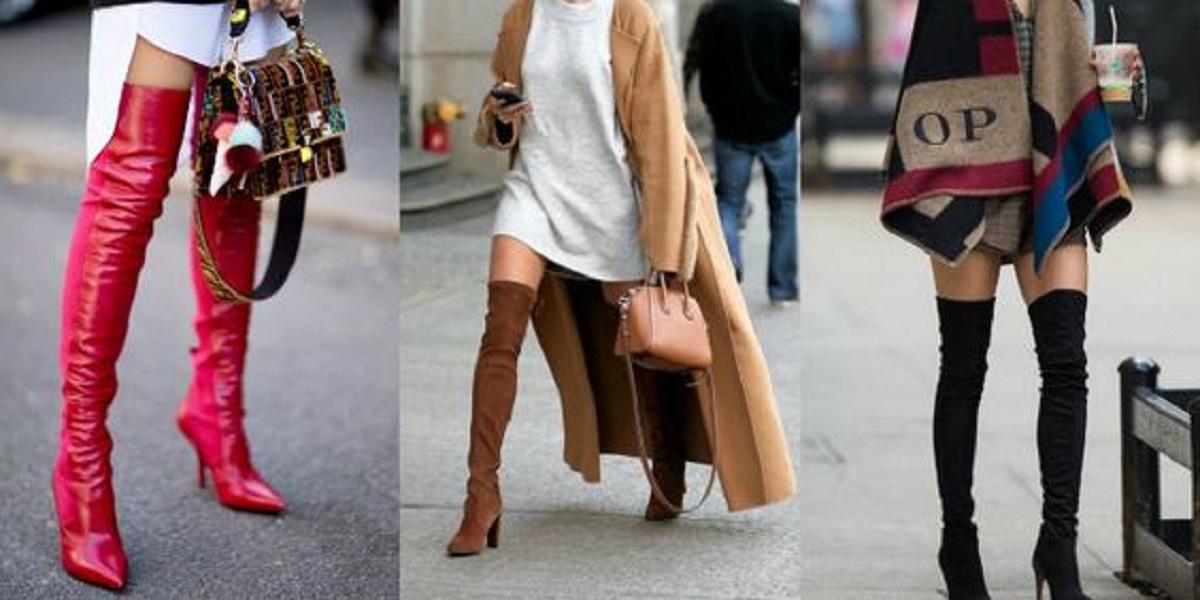 stivali alti con tacco o flat tendenza